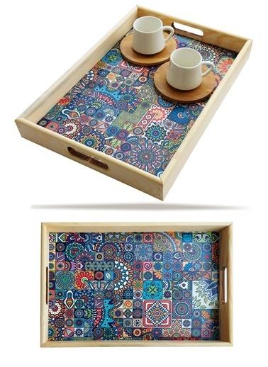 Kitchen Love Ahşap-Otantik-Çini Desenli  Servis Sunum Tepsisi-34X24X4Cm Kahve